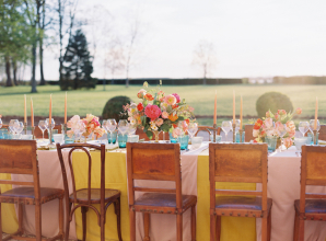 Yellow and Pink Wedding Table