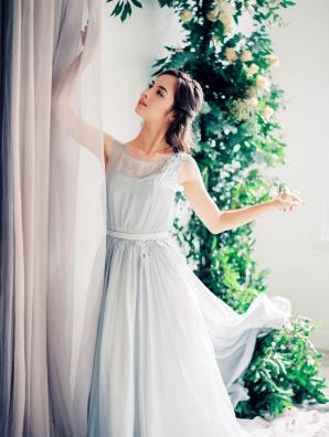 Blue Silk Cathytelle Dress