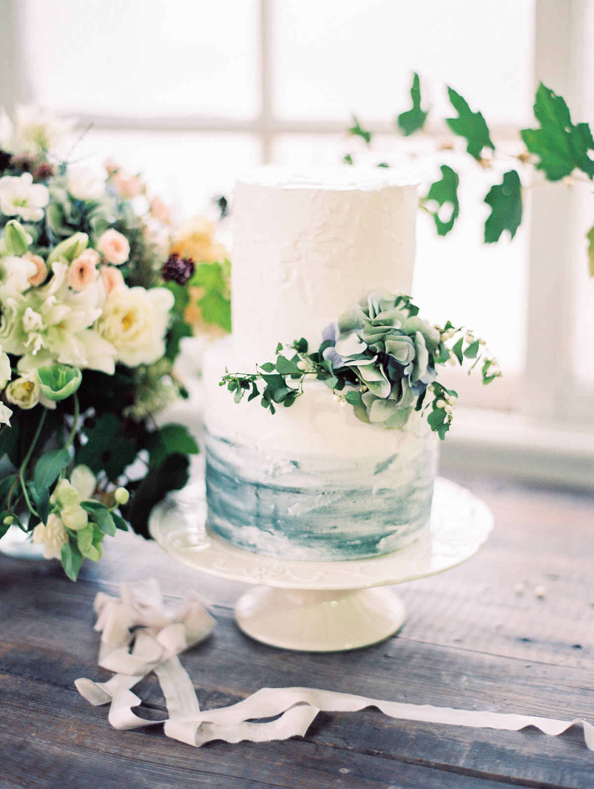 Blue and White Watercolor Wedding Cake - Elizabeth Anne Designs: The ...