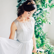 Bride in Blue Silk Dress