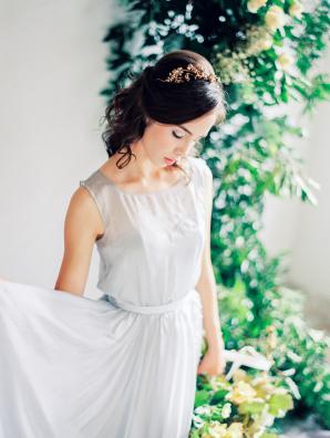 Bride in Blue Silk Dress