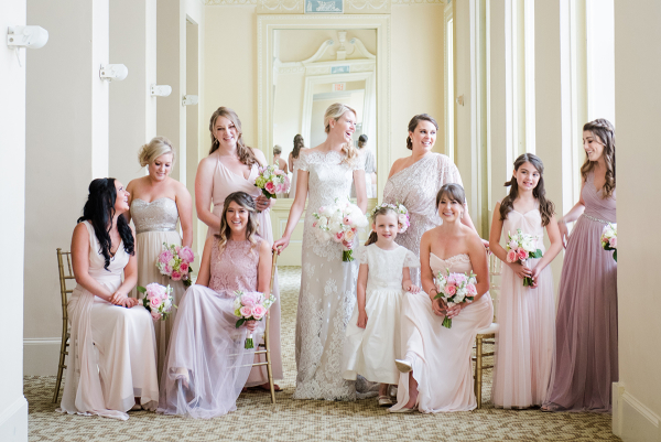 Bridesmaids in Mauve and Pink