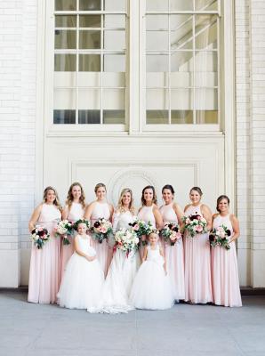 Bridesmaids in Pink Bill Levkoff Dresses