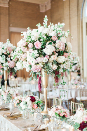 Centerpiece for Gold and Pink Ballroom Wedding