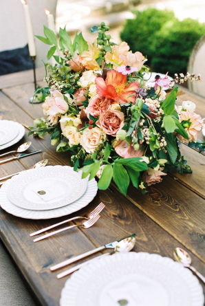 Coral Mauve and Green Centerpiece