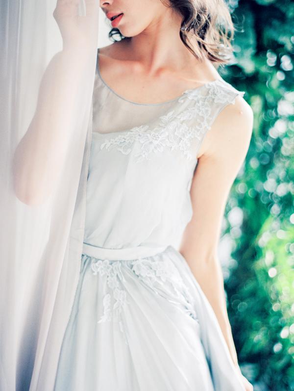 Delicate Blue Silk Wedding Dress