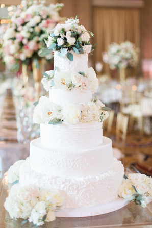 Elegant Tiered Wedding Cake with Roses