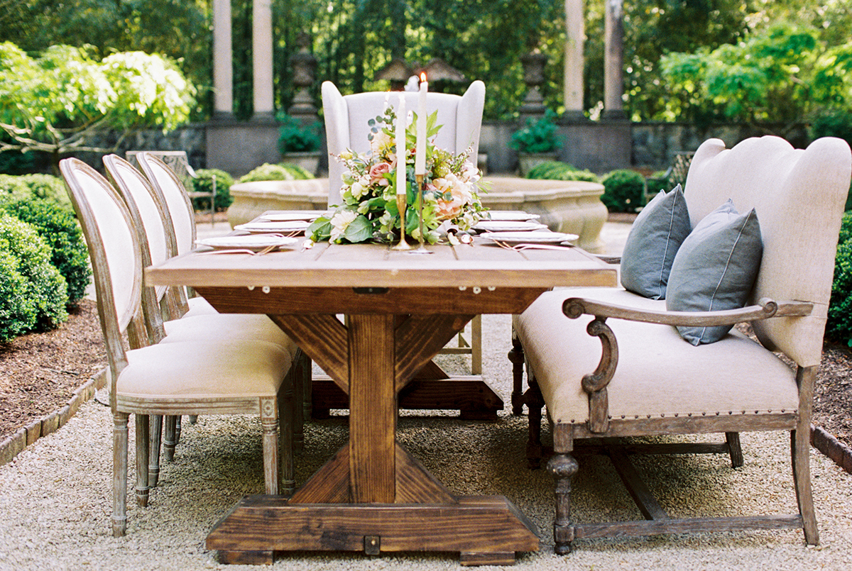 Farmhouse Tables And Upholstered Seating For Wedding