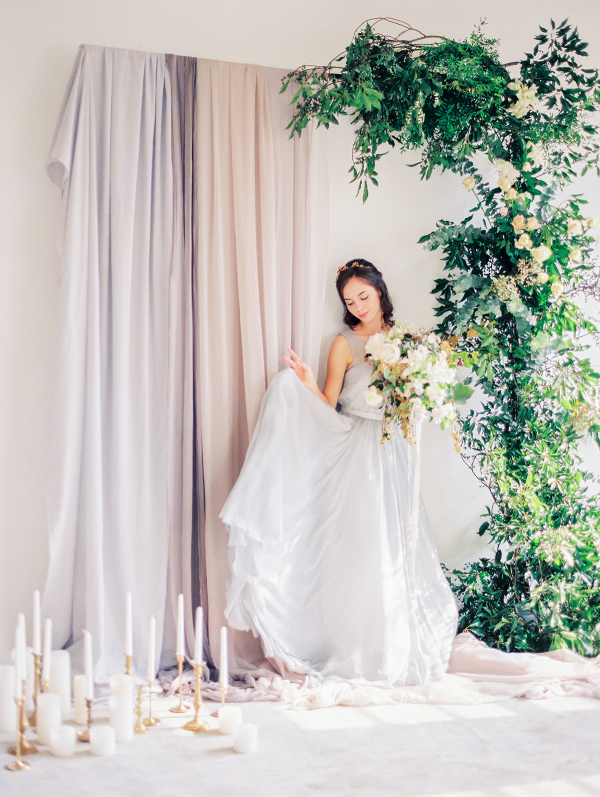 Greenery and Silk Wedding Altar