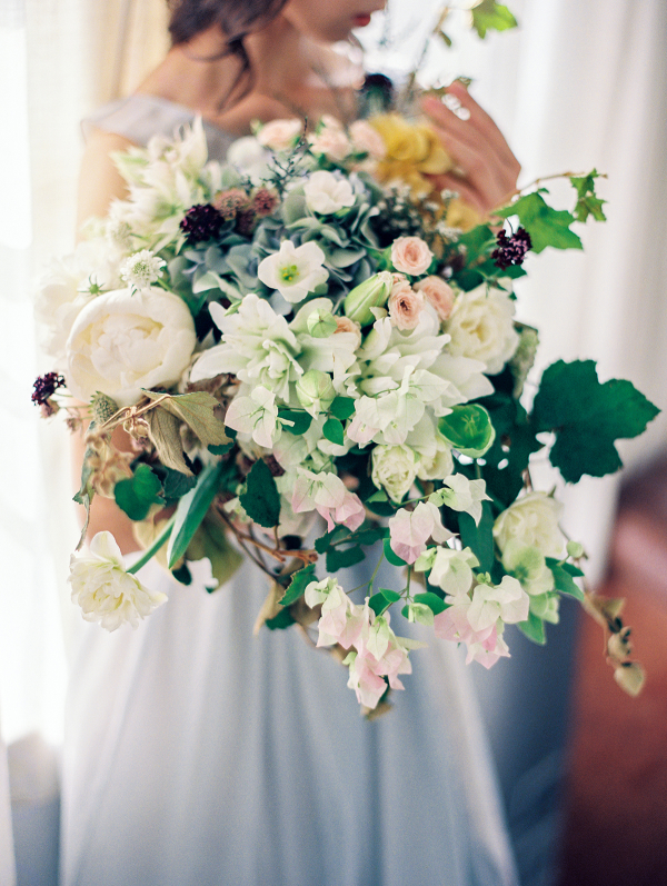 Lush Bouquet of Greenery and Peonies