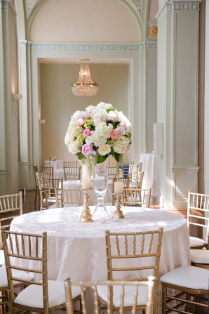 Pink and White Centerpiece with Hydrangea