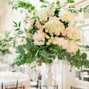 Tall Hydrangea and Rose Centerpiece