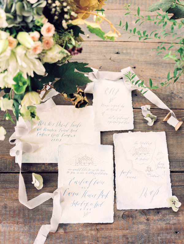 Teal Calligraphy Wedding Invitations