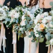 Blush Ribbon Tied Bridesmaids Bouquets