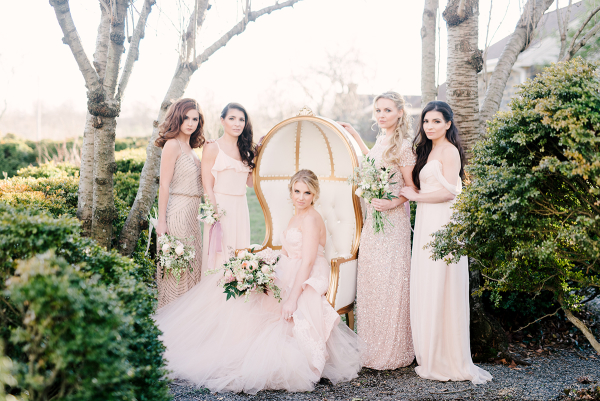 Bride and Bridesmaids in Blush and Gold