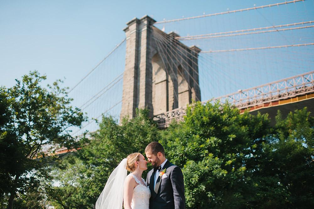 Bride and Groom Under Brooklyn Bridge
