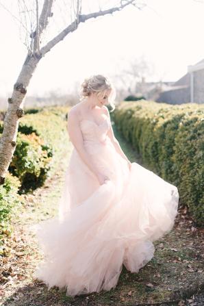 Bride in Blush Dress