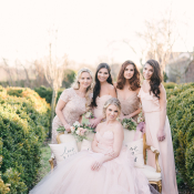 Bridesmaids in Pale Pink and Champagne