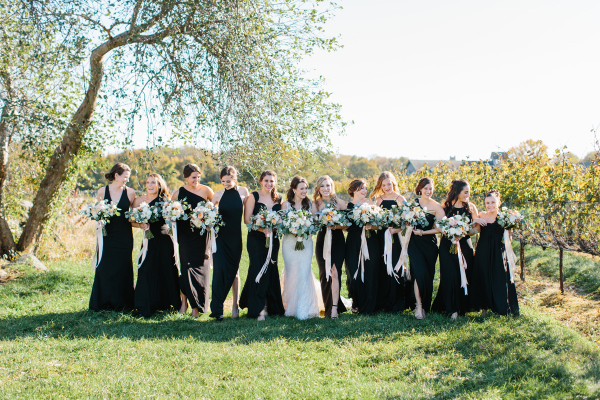 Bridesmaids in Their Own Black Dresses