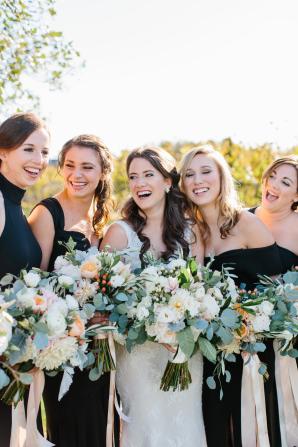 Bridesmaids in Various Black Dresses