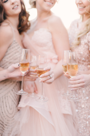 Bridesmaids with Champagne