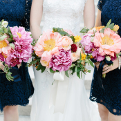 Bridesmaids with Pink and Fuchsia Bouquets
