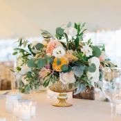 Centerpiece with Peach Garden Roses and Dahlias