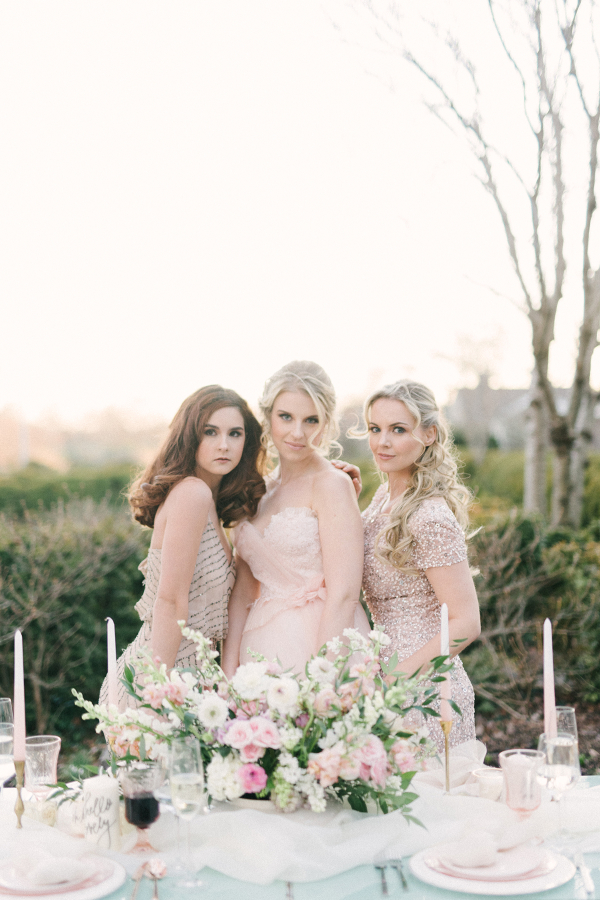 Champagne and Gold Bridesmaids Dresses
