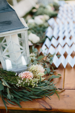 Escort Card Table with Greenery