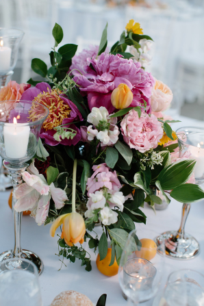 Fuchsia and Orange Centerpiece