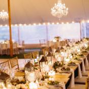 Tent Wedding with Lantern Centerpieces