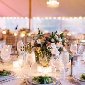 Tent Wedding with Pink Lighting