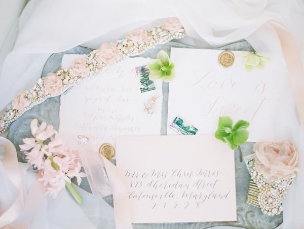 Wedding Stationery with Pink Calligraphy