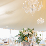 White and Peach Tent Wedding