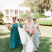 Bridesmaids in Shades of Teal