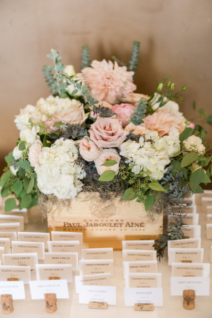 Blush and Ivory Escort Card Flowers