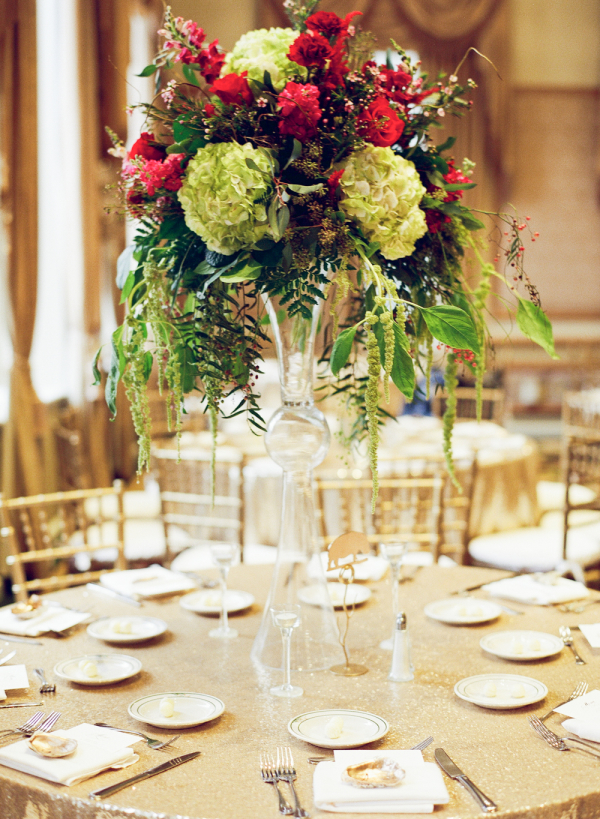 Burgundy and Champagne Wedding Reception