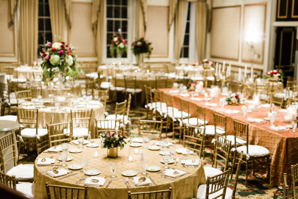 Champagne And Gold Wedding Reception