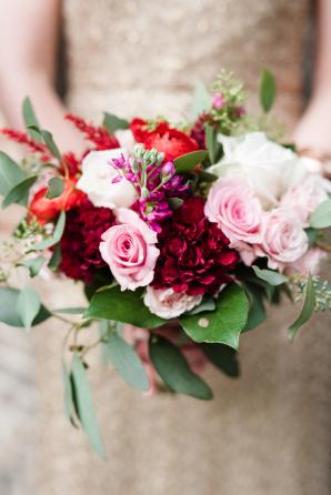 Garnet and Blush Bridesmaid Bouquet
