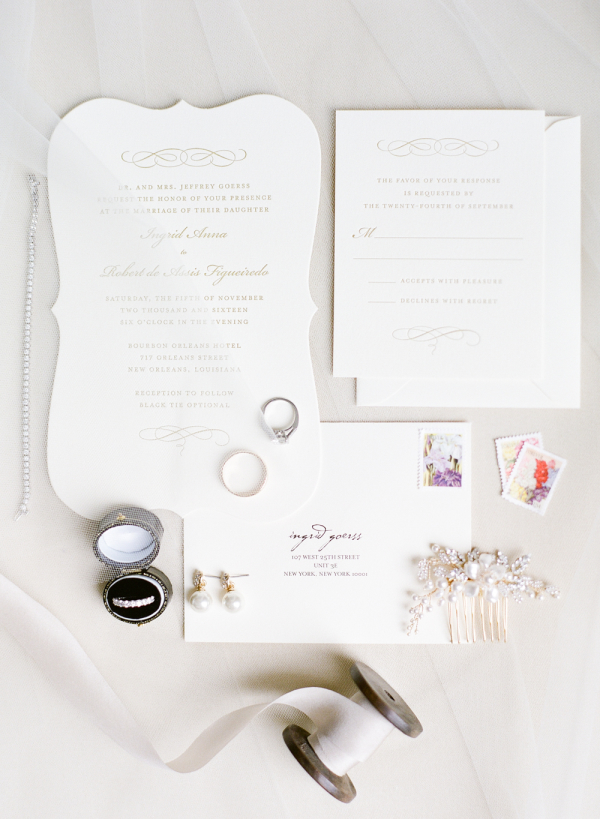 Gold and White Classic Wedding Invitations