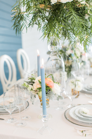 Blue Taper Candle Centerpiece