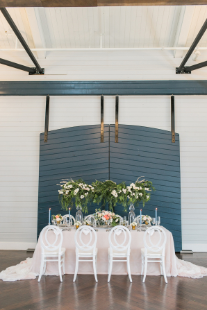 Blue White and Green Wedding Table