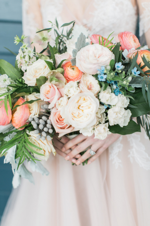 Blush and Pale Coral Bridal Bouquet with Blue