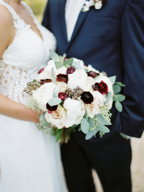 Bride Bouquet in Burgundy and Ivory