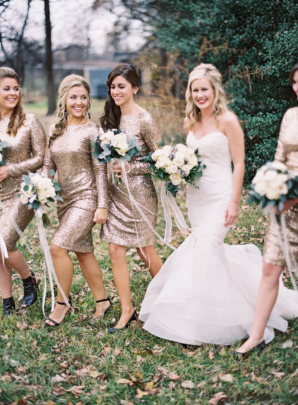 Bridesmaids in Gold Sequin Sheaths