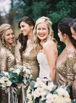 Bridesmaids in Gold Sequins