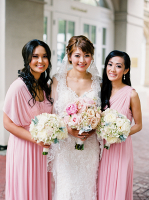 Bridesmaids in Pink Convertible Dresses
