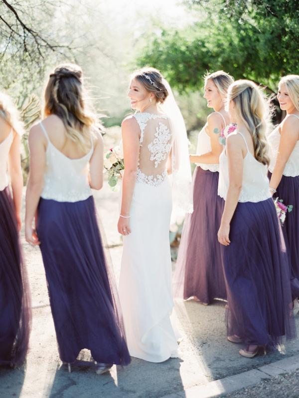 Bridesmaids in Purple Skirts