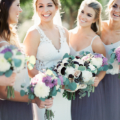 Bridesmaids in Purple and White