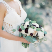 Burgundy and White Wedding Bouquet